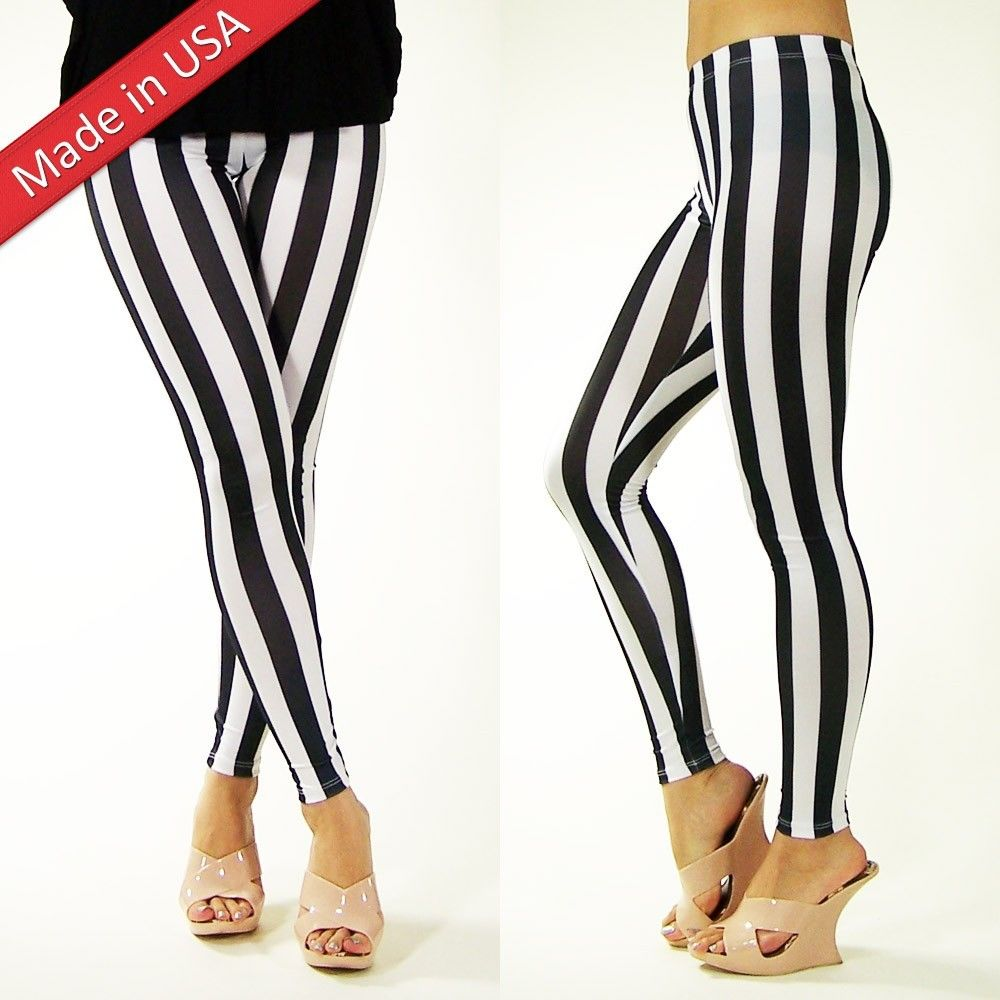 New Sexy Black White Stripe Hot Leggings Cool Fashion Tights Pants Made in USA
