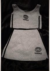 versace,grey top,crop tops,grey skirt,mini skirt