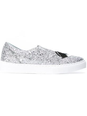 women sneakers leather cotton grey metallic shoes