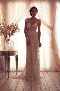 Onlyudress hot selling vintage style straps floor length lace empire cap sleeveless sash rhinestones wedding dress / bridal gowns s447