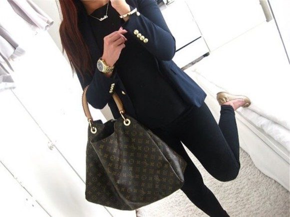 jacket gold buttons shirt shoes navy blue louis vuitton jewels