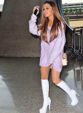 shoes,high knee,white,ariana grande,gogo,boots,high heels,dress,sweater,high,knitted dress,purple