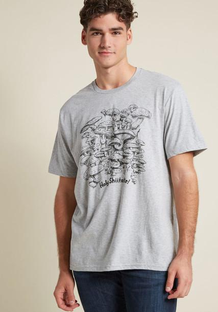 M6552 t-shirt shirt graphic tee t-shirt cotton print grey top