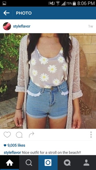 top daisy sunflower flowers floral floral tank top tumblr cute pretty hipster