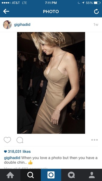 dress nude dress bodycon dress gigi hadid