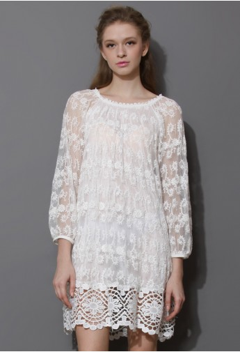 Presciousness White Embroidered Dress with Crochet Hem - Retro, Indie and Unique Fashion