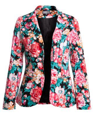 Apricot black floral print blazer