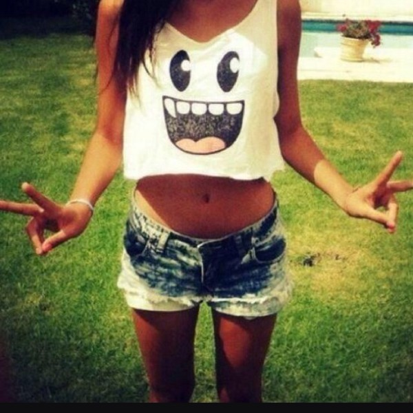tank top crop tops tounge out cute fashion style