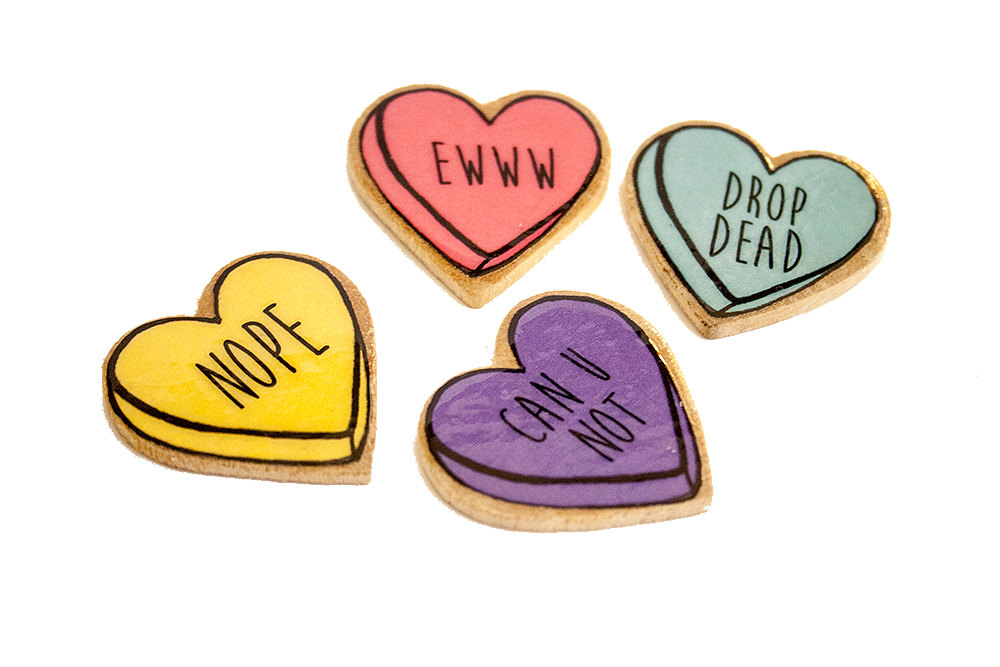 Bitter Sweet Candy Heart Pins Four Colors To Choose From