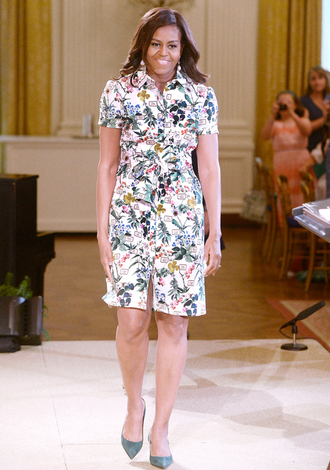 dress pumps floral dress floral shirt dress michelle obama first lady outfits