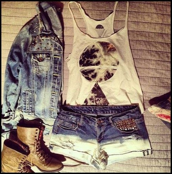 jacket denim jacket tank top shorts shoes