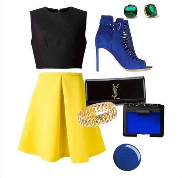 yellow skirt skirt black crop top blue heels yves saint laurent black bag