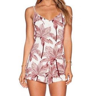 romper summer palm tree print white trendy fashion style cute rose wholesale-feb