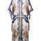 Dolce & gabbana - majolica print silk blend kaftan - women - silk/cotton - 38, white, silk/cotton