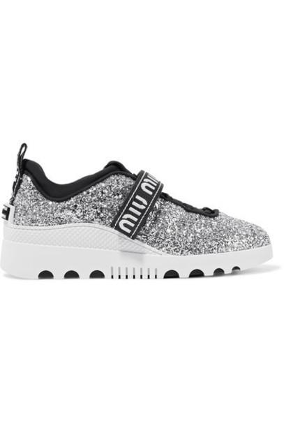 Miu Miu sneakers silver neoprene shoes