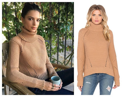 Emily Ratajkowski in Camel Turtleneck Sweater