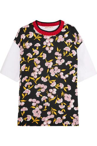t-shirt shirt floral cotton print silk wool black top