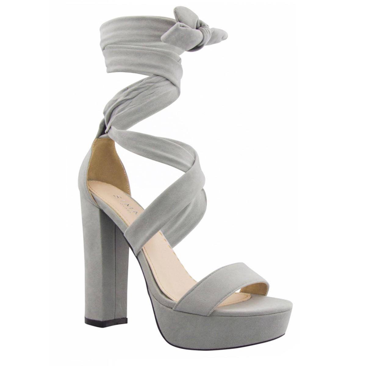b6449fe40261 Grey Suede Lace Up Platform Heels   Simmi Shoes