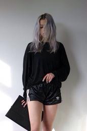 adidas,shorts,black shorts,adidas shorts,grunge,tumblr,indie,pale,pale grunge,all black everything,dark