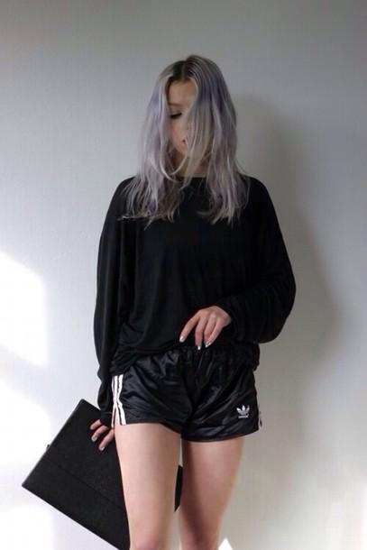 adidas shorts black shorts adidas shorts grunge tumblr indie pale pale grunge all black everything dark