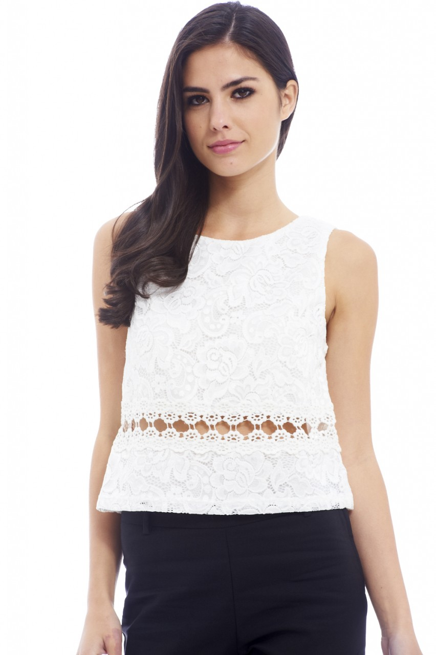 Cream Open Detail Crochet Waist Top