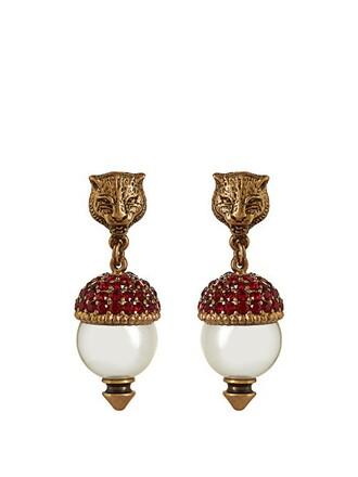 pearl embellished earrings red jewels