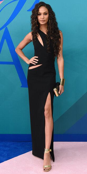 dress joan smalls black dress maxi dress slit dress sandals cut-out gown model cfda