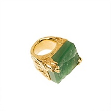 New arty square ring with aventurine semi