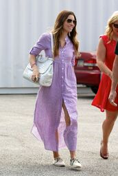 dress,shirt dress,jessica biel,bag,shoes