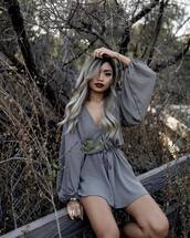 dress,tumblr,mini dress,grey dress,puffed sleeves,v neck,v neck dress,long sleeves,long sleeve dress,blonde hair,long hair,dark lipstick,make-up,puff sleeve dress