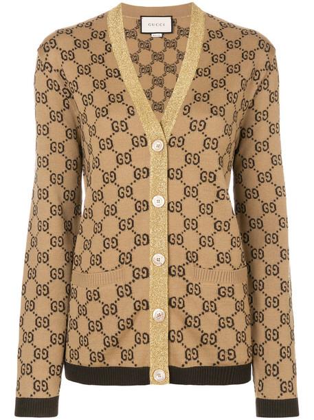 gucci cardigan cardigan metallic women jacquard wool brown sweater