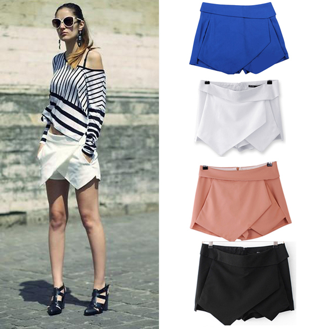 New 4 Colors Womens Tiered Shorts Irregular Zipper Trousers Culottes Short Skirt XS/S/M/L/XL Free Shipping-in Skirts from Apparel & Accessories on Aliexpress.com