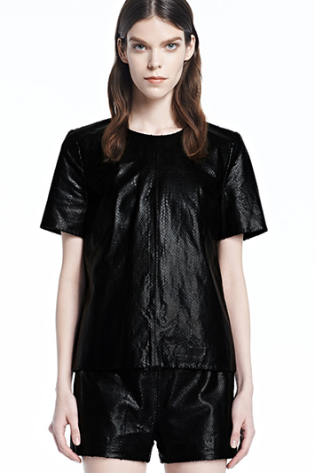 Marilena Leather Tee | J Brand