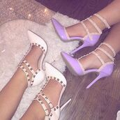 shoes,purple,heels,cute,classic,white,gabi demartino,pyramid studs,pointed toe,pointy heels,strappy heels,white heels,pointed toe pumps