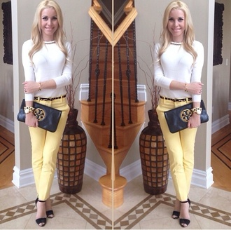 blouse yellow pants classy belt pants bag jewels shoes