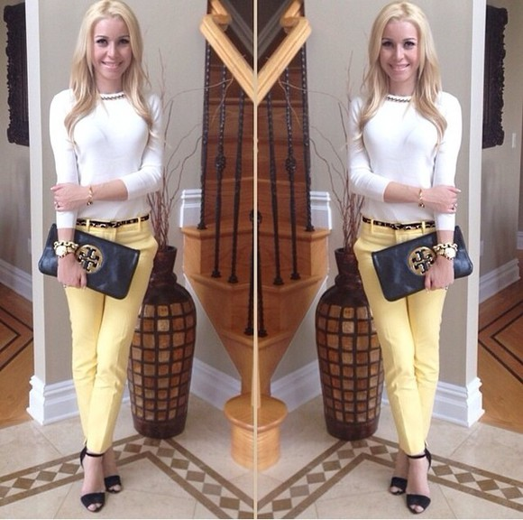 yellow pants pants blouse classy Belt bag jewels shoes