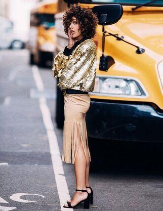 jacket gold jacket bomber jacket metallic bomber skirt midi skirt fringe skirt nude skirt sandals mid heel sandals black sandals streetstyle