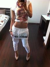 pants,dsquared,white,joggers,sweatpants,shirt