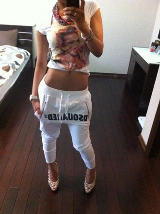 pants dsquared white joggers sweatpants shirt