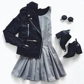 dress grey booties leather jacket