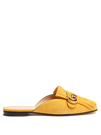 backless loafers suede yellow shoes