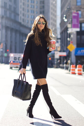 something navy blogger dress shoes sunglasses jewels bag sweater sweater dress turtleneck sweater thigh high boots high heels boots handbag