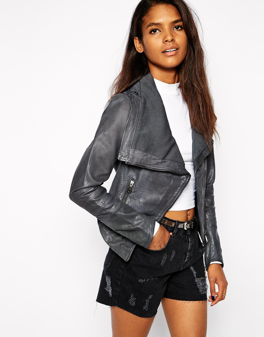 Doma Leather Biker Jacket with Skinny Sleeves & Drape Front at asos.com