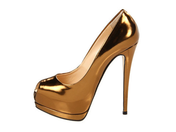 Shoes: metallic heels, high heels, copper, gold, gold peep toe ...