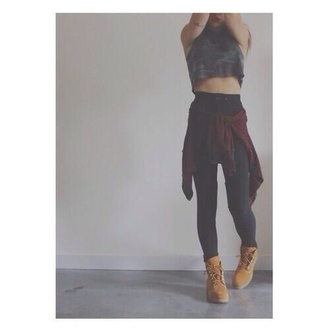 tank top black crop top crop tops military style combat boots shoes