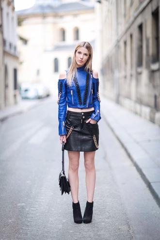 meryl denis blogger leather leather skirt zip black bag black boots blue top long sleeves