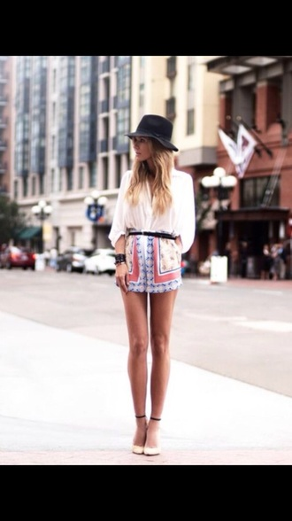 shorts printed cute print style streetstyle belt blouse