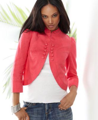 Inc international concepts jacket, three quarter sleeve linen mandarin collar bolero