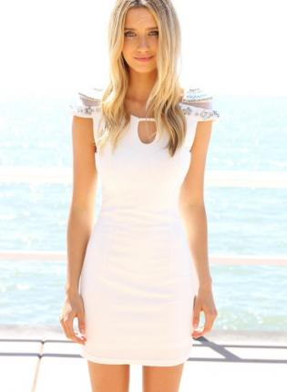 White Cocktail Dress - White Bodycon Dress with Embellished | UsTrendy