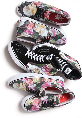 shoes floral vans high tops low tops colorblock cute tumblr women's